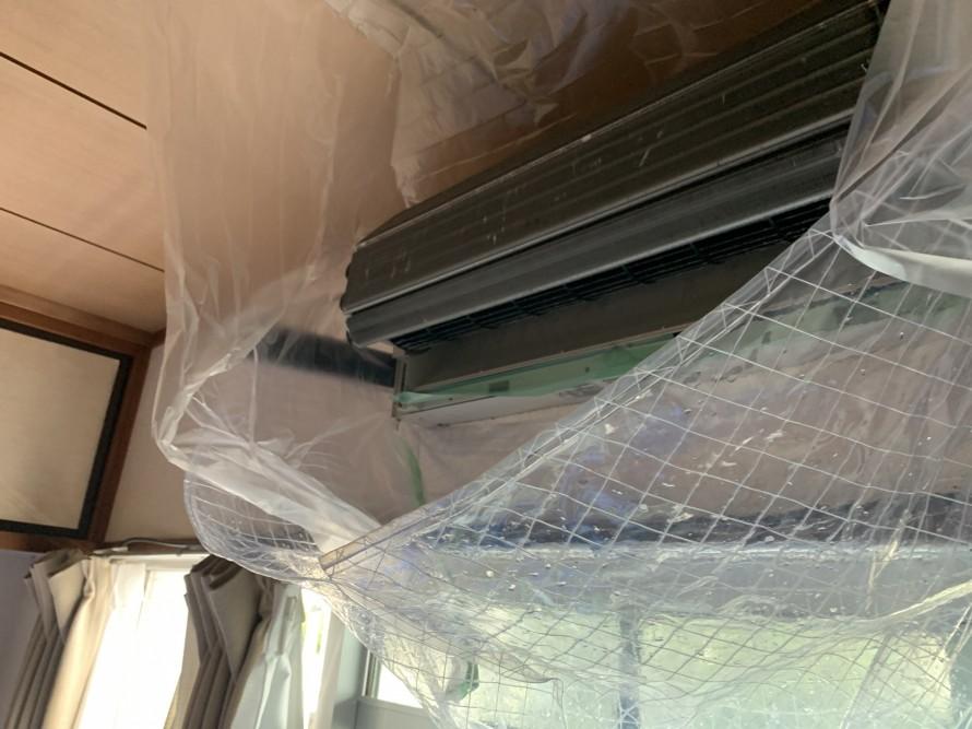 エアコン掃除洗浄前準備