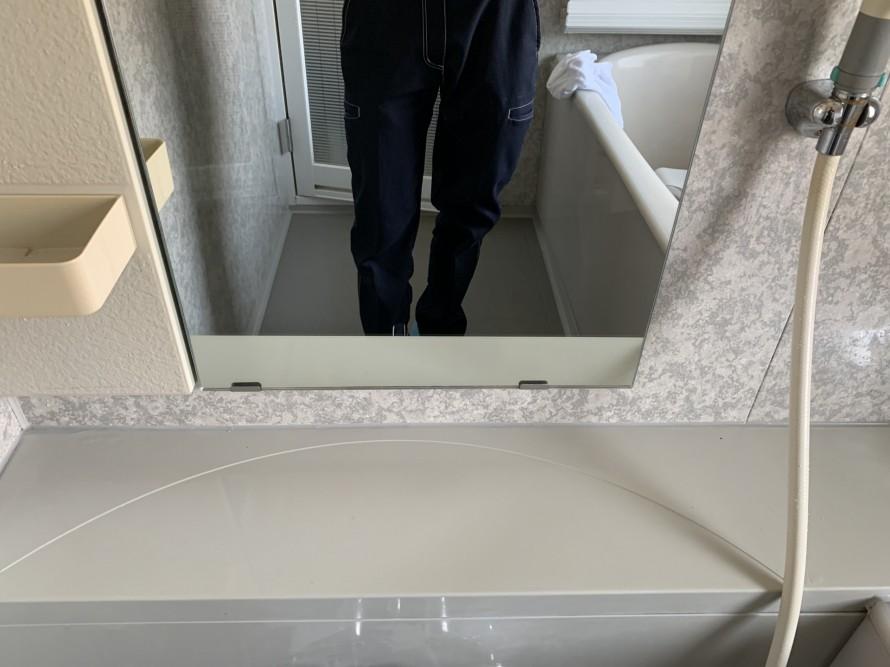 浴室鏡掃除後
