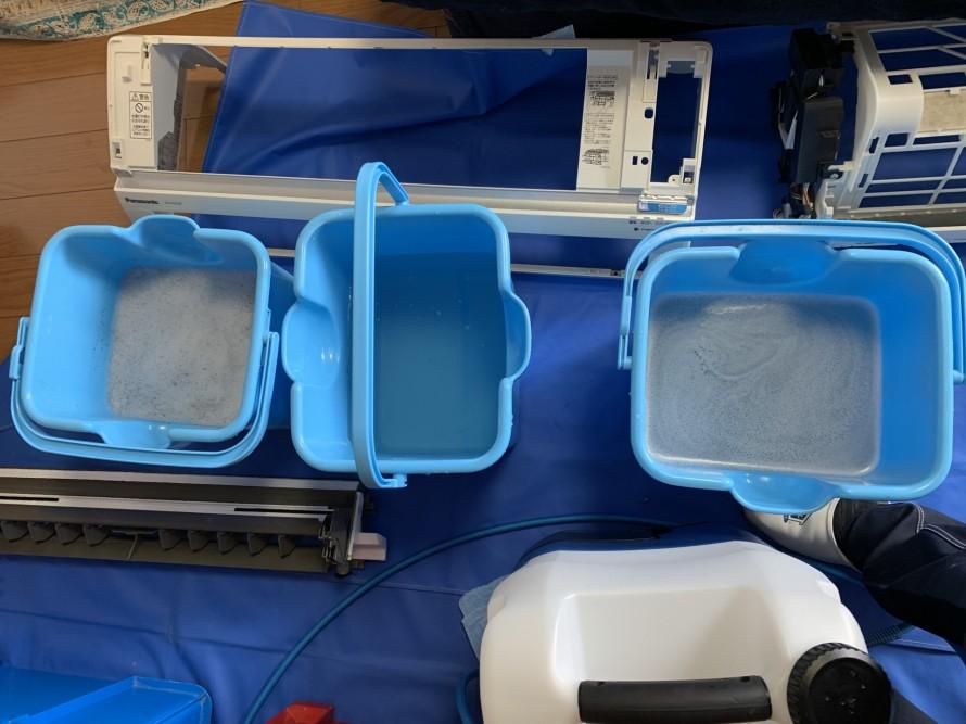 お掃除機能エアコン洗浄の汚水